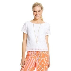 Lilly Pulitzer For Target White Eyelet Lace Crop